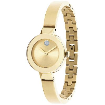 Movado Bold Yellow PVD & Crystal Bangle Watch