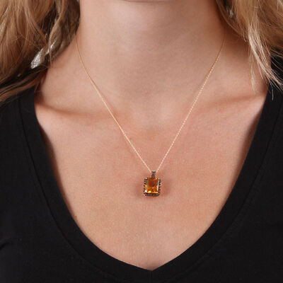 Emerald Cut Citrine & Diamond Necklace 14K