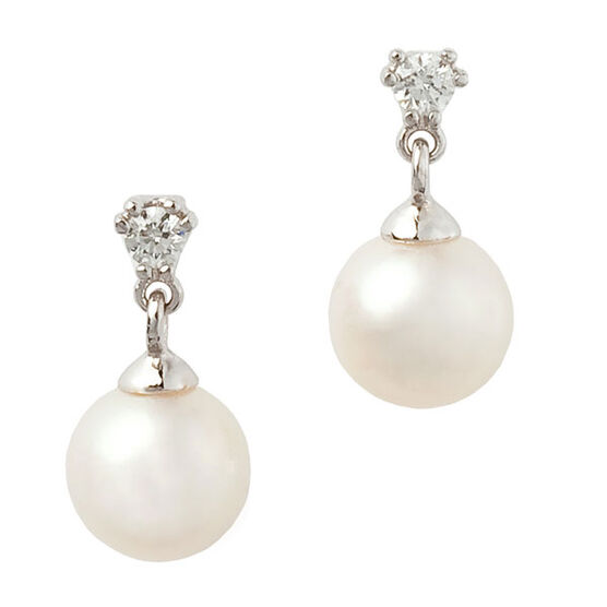 Freshwater Cultured Pearl & Diamond Drop Earrings 14K