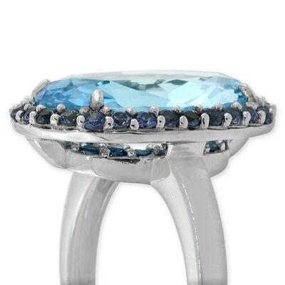 Blue Topaz & Sapphire Ring 14K