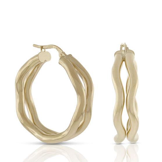 Toscano Double Wavy Hoop Earrings 18K
