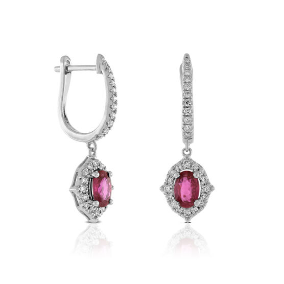 Ruby & Diamond Earrings 14K