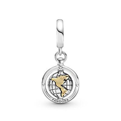 Pandora Spinning World CZ Dangle Charm, Silver & 14K