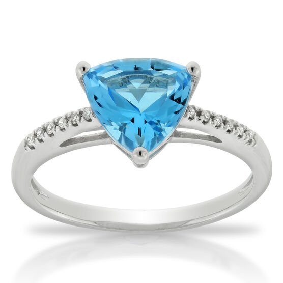 Blue Topaz & Diamond Ring 14K