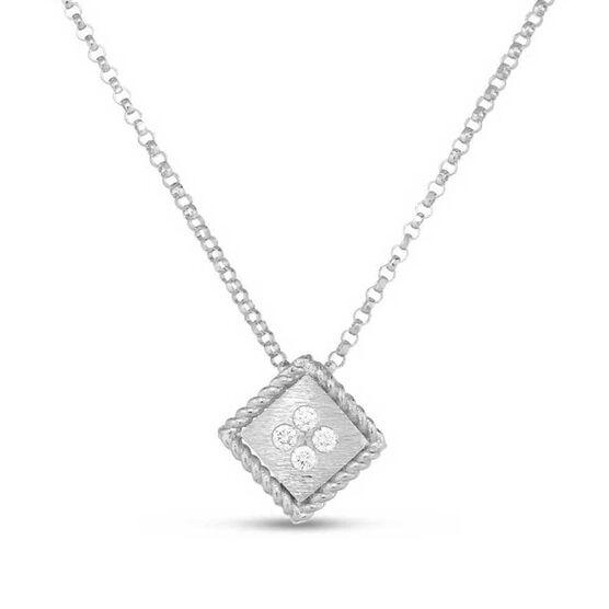 Roberto Coin Palazzo Ducale Satin Square Diamond Necklace 18K
