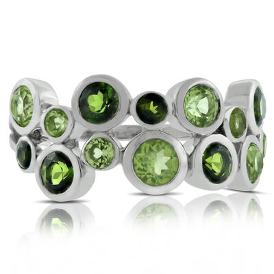 Lisa Bridge Bezel Set Peridot & Tourmaline Ring