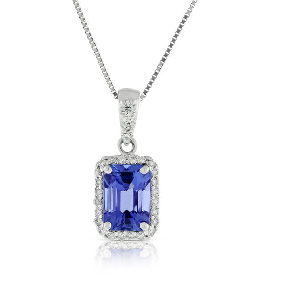 Tanzanite & Diamond Halo Pendant 14K