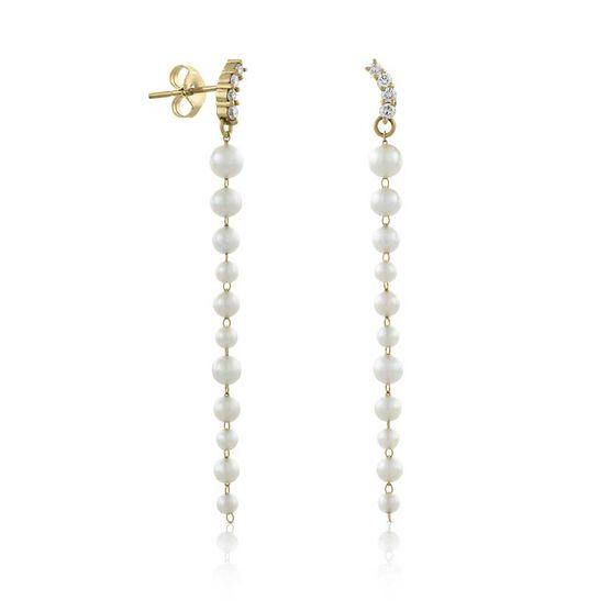 Graduated Cultured Akoya Pearl & Diamond Earrings 14K