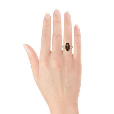 Rose Gold Oval Smoky Quartz & Diamond Ring 14K