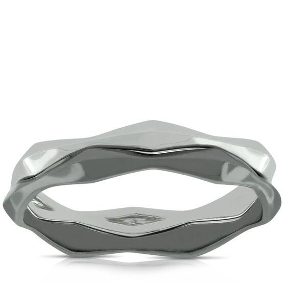 Lisa Bridge Silver & Black Rhodium Ring Set