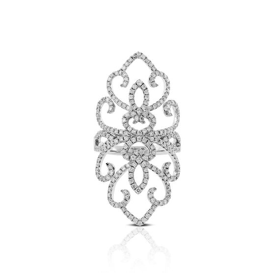 Floral Diamond North-South Ring 14K