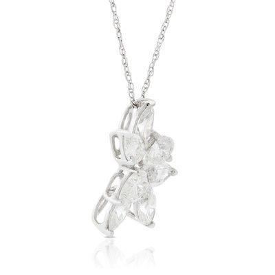 Marquise & Pear Diamond Cluster Necklace 14K