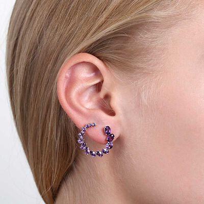 Amethyst Curl Earrings 14K