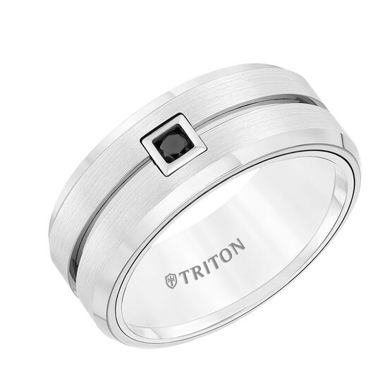 TRITON Men's Band in White Tungsten