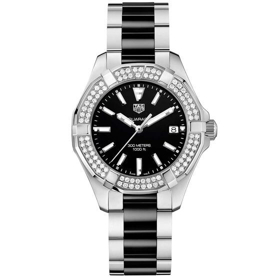TAG Heuer Aquaracer Diamond Bezel Ceramic Quartz Watch 35mm