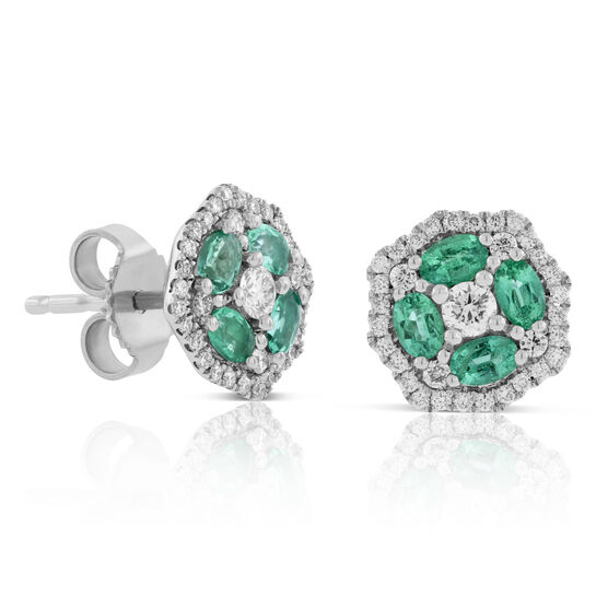 Floral Emerald & Diamond Necklace 14K
