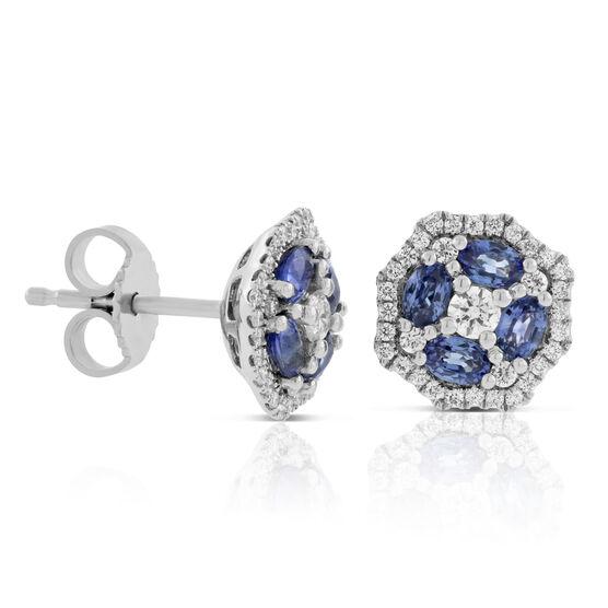 Floral Sapphire & Diamond Earrings 14K