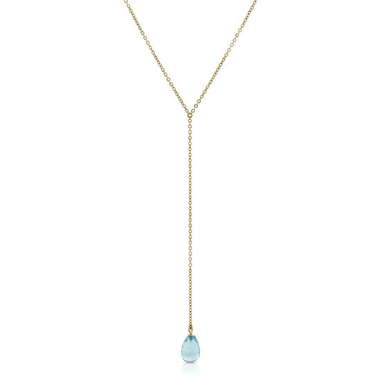 "Blue Topaz Briolette ""Y"" Necklace 14K"