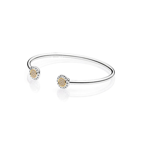 PANDORA CZ Signature Bangle Bracelet, Silver & 14K
