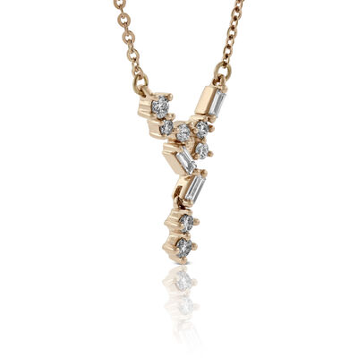 "Rose Gold Scattered ""V"" Baguette & Round Diamond Necklace 14K"