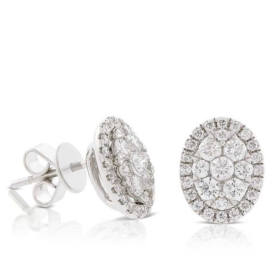 Diamond Cluster Oval Stud Earrings 14K
