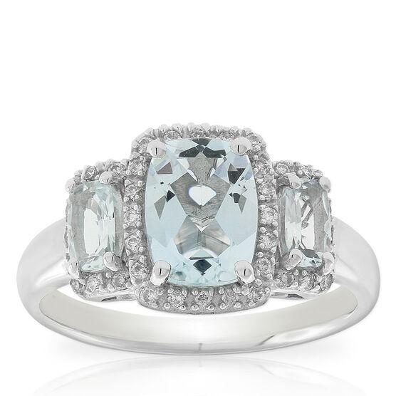 Three Stone Aquamarine & Diamond Ring 14K