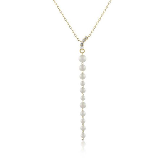 Graduated Cultured Akoya Pearl & Diamond Necklace 14K
