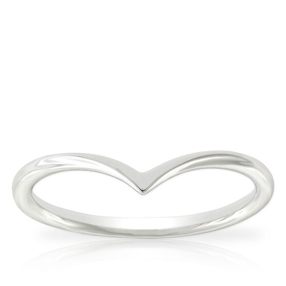 White Gold Chevron Midi Ring 14K