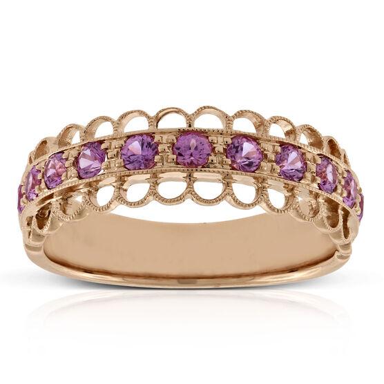 Rose Gold Pink Sapphire Ring 14K