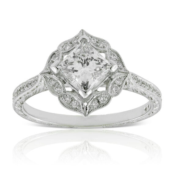 Princess Cut Halo Diamond Engagement Ring 14K