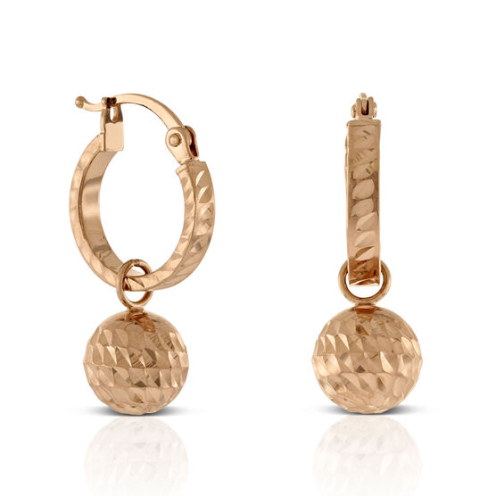 Rose Gold Diamond Cut Ball Drop Huggie Earrings 14K