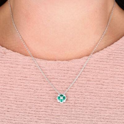 Floral Emerald & Diamond Pendant 14K