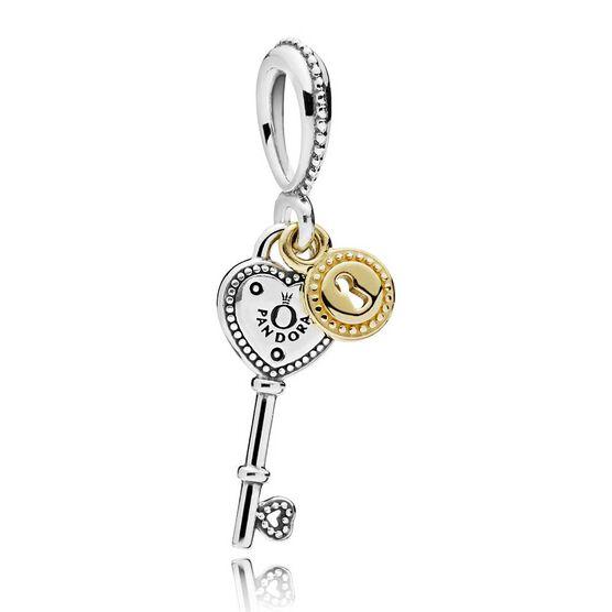 PANDORA Key to My Heart Dangle Charm, Silver & 14K