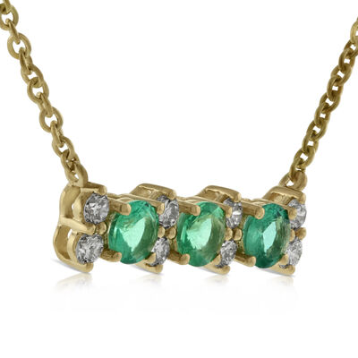 Emerald & Diamond 3-Stone Bar Necklace 14K