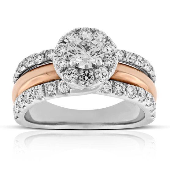Rose & White Gold Halo Diamond Wedding Ring 14K