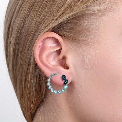 Blue & White Topaz Curl Earrings 14K