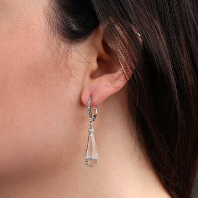 White Quartz & Topaz Dangle Earrings 14K