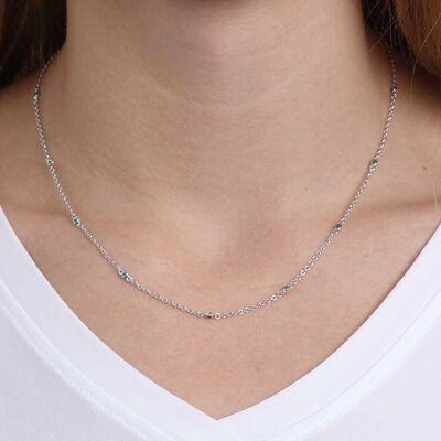Bezel Set Emerald Necklace 14K