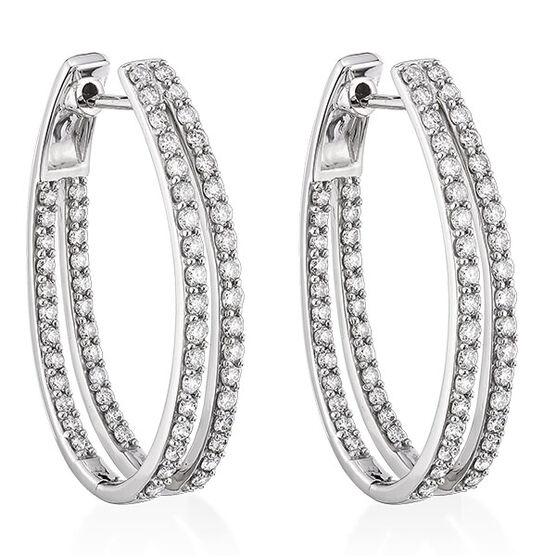 Double Hoop Diamond Earrings 14K