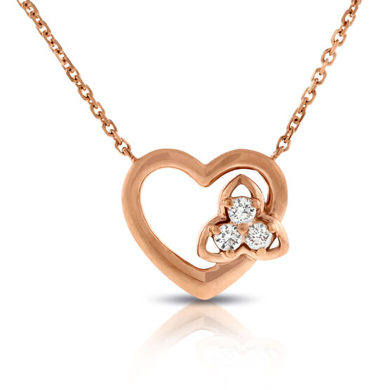 Rose Gold Diamond Heart Necklace 14K