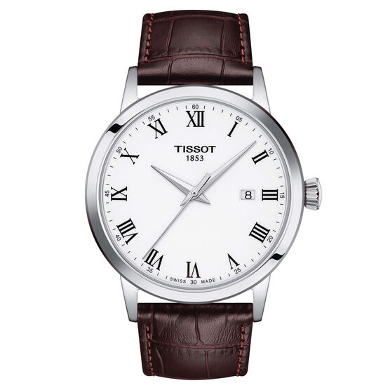 Tissot Classic Dream White Dial Leather Quartz Watch, 42mm