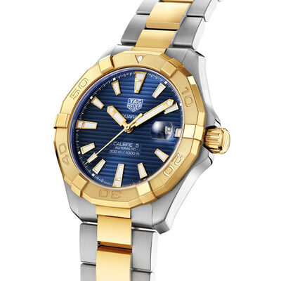TAG Heuer Aquaracer Calibre 5 Automatic Mens Blue Steel & Yellow Gold Plated Watch