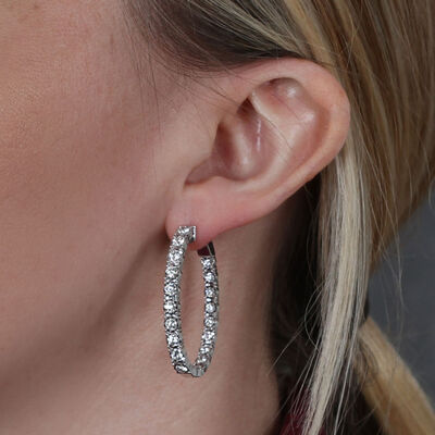 Diamond Oval Hoop Earrings 14K, 2.50 ctw.