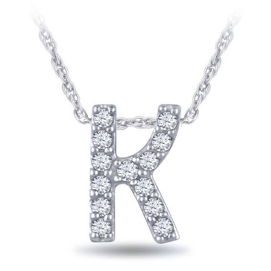 Diamond Initial Pendant 14K Letter 'K'