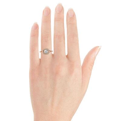 Rose Gold Brown & White Halo Semi-Mount Ring 14K
