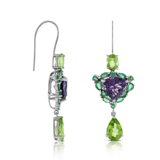 Lisa Bridge Amethyst, Emerald & Peridot Earrings