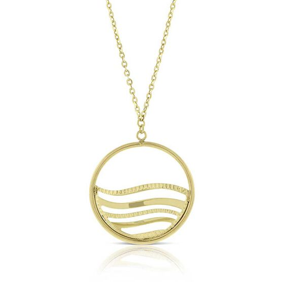 Toscano Open Circle Wave Necklace 14K
