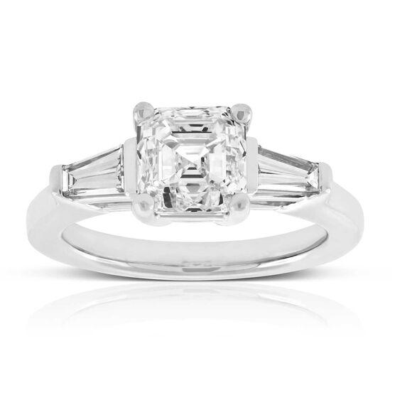 Asscher Cut & Baguette Diamond Ring in Platinum