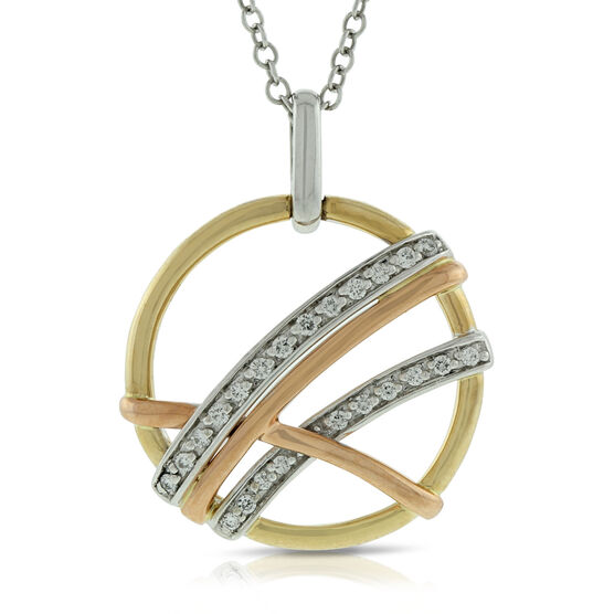 Criss Cross Circle Diamond Pendant 14K