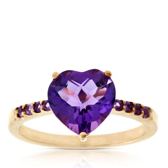 Rose Gold Amethyst Heart Ring 14K